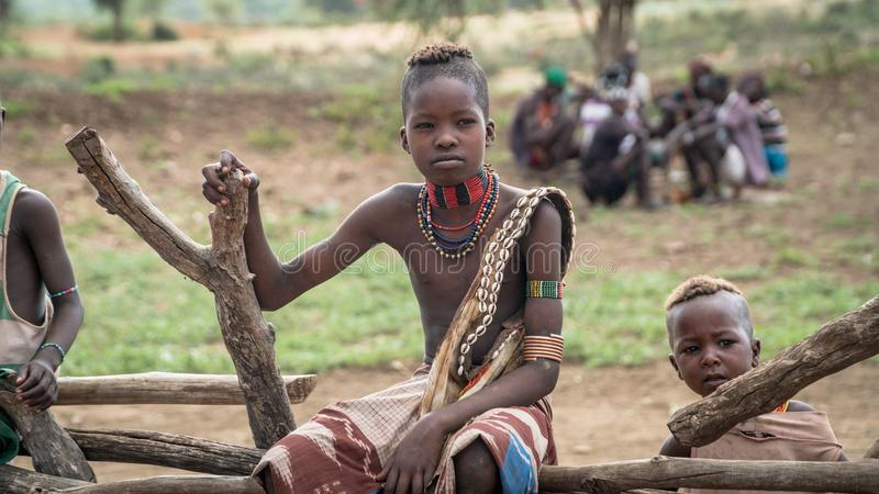 Menino não identificado do tribo de Hamar no vale de Omo de Etiópia fotos de stock