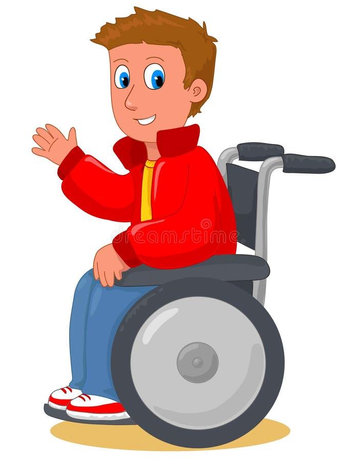 Menino na cadeira de rodas ilustração royalty free