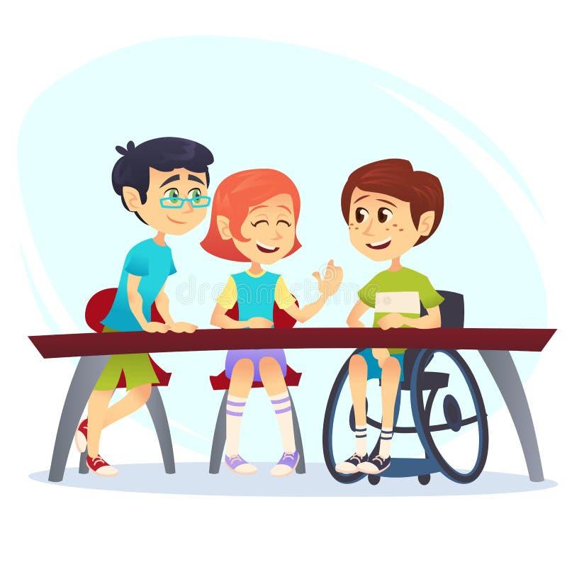 Menino na cadeira de rodas que senta-se na tabela na cantina e que fala aos amigos Estudantes felizes das crianças que têm a conv ilustração royalty free