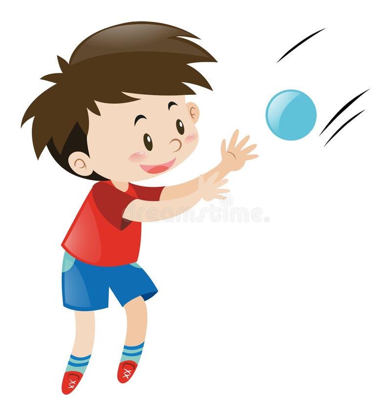 Menino na camisa vermelha que trava a bola azul ilustração royalty free