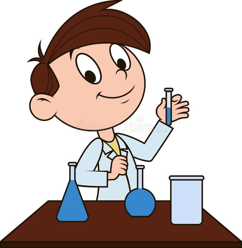Menino na classe de química ilustração do vetor