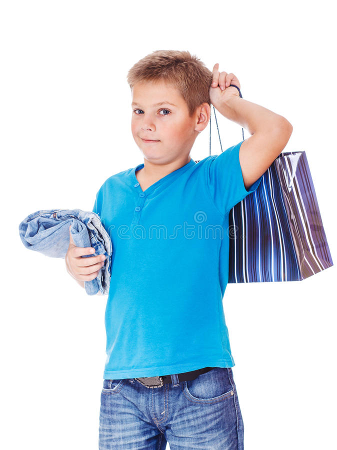 Menino na roupa azul imagem de stock