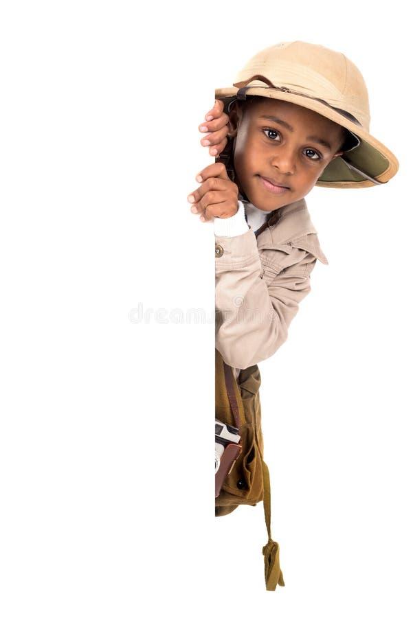 Menino na roupa do safari fotos de stock royalty free