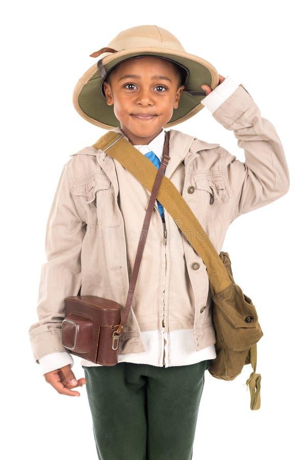 Menino na roupa do safari imagem de stock