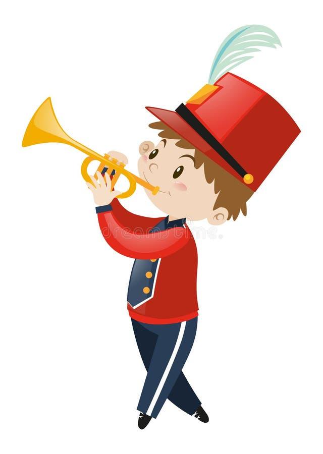 Menino na trombeta de jogo uniforme da faixa ilustração stock