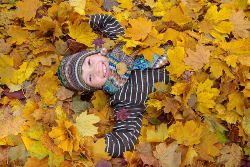 Menino nas folhas de outono fotos de stock royalty free