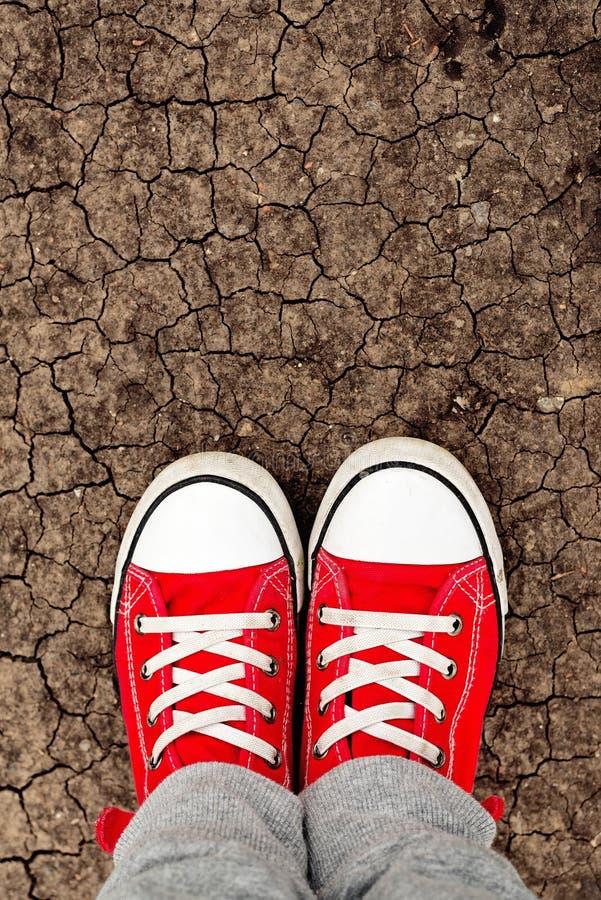 Menino nas sapatilhas vermelhas que estão na terra, de cima de imagens de stock royalty free