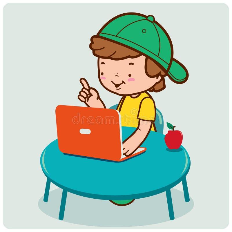 Menino no computador ilustração do vetor