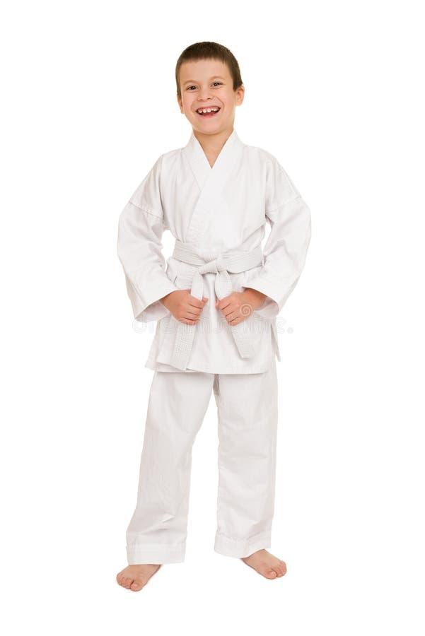 Menino no levantamento branco do quimono fotos de stock