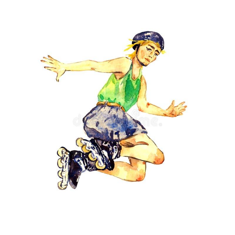 Menino no salto dos patins e do capacete de rolo isolado no fundo branco ilustração royalty free