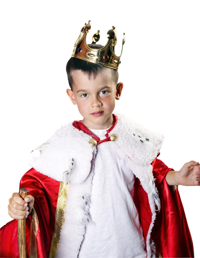 Menino no traje do rei foto de stock royalty free