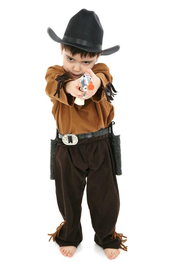 Menino no traje do xerife do cowboy foto de stock royalty free