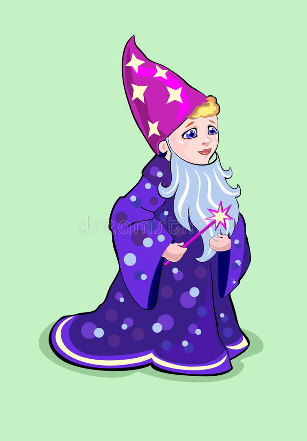 Menino no traje um mágico, feiticeiro ilustração stock