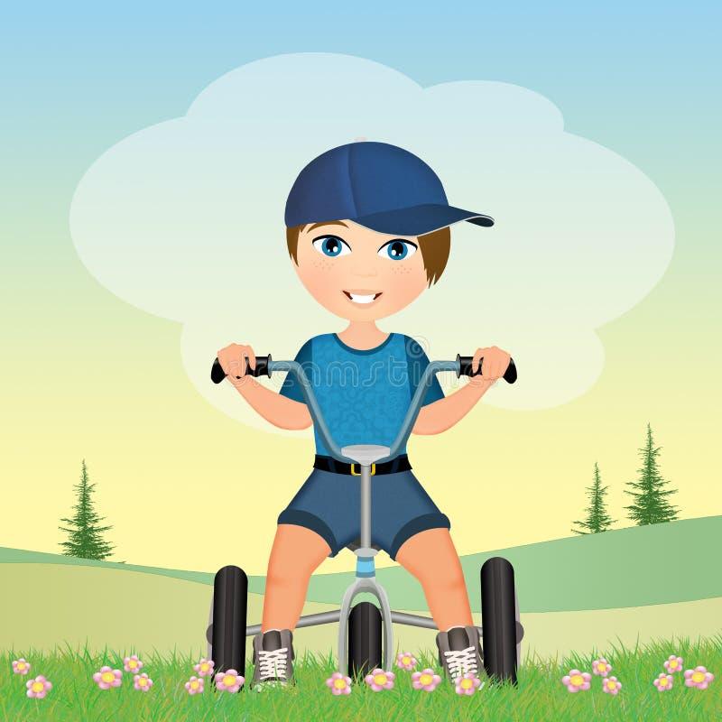 Menino no triciclo ilustração do vetor