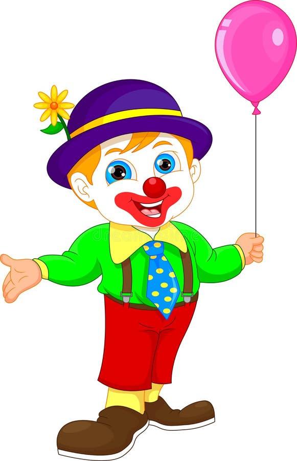 Menino nos desenhos animados do traje do palhaço que guardam o balão ilustração stock