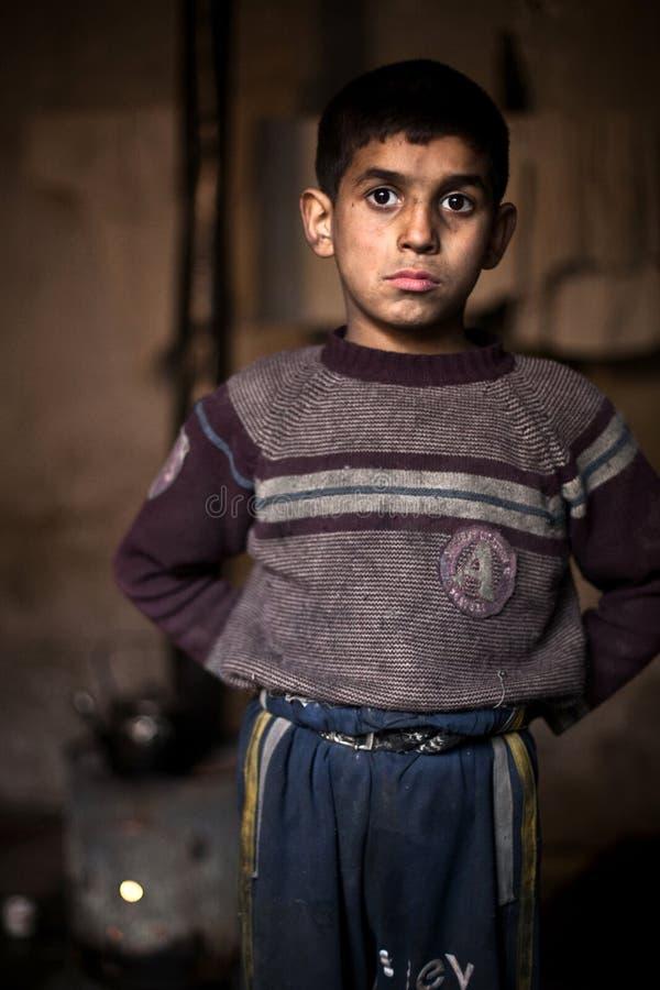 Menino novo, Aleppo. imagens de stock
