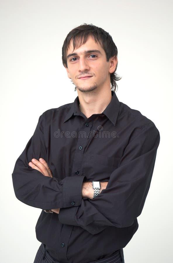 Menino novo com camisa preta fotos de stock royalty free
