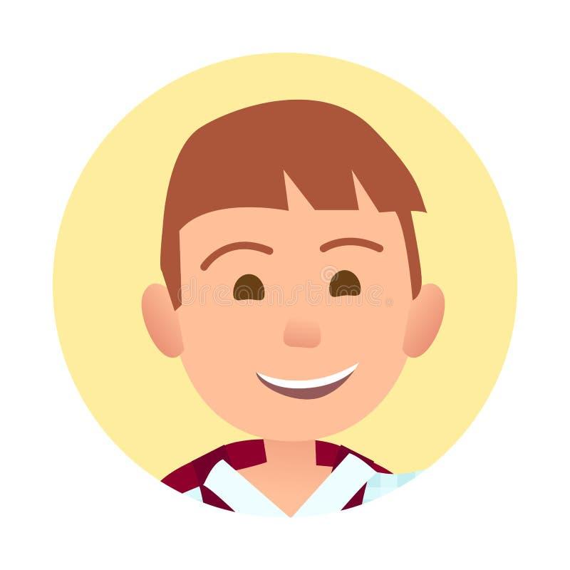 Menino novo com o retrato redondo do sorriso sincero largo ilustração royalty free