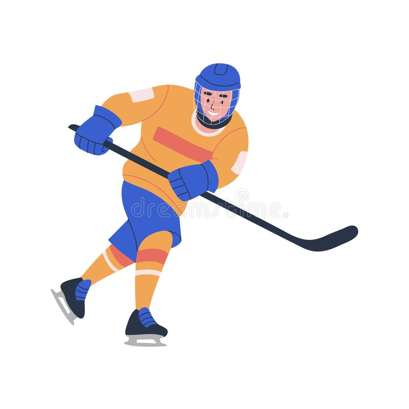 Menino novo de sorriso do adolescente que joga o jogo de hóquei em gelo ilustração royalty free