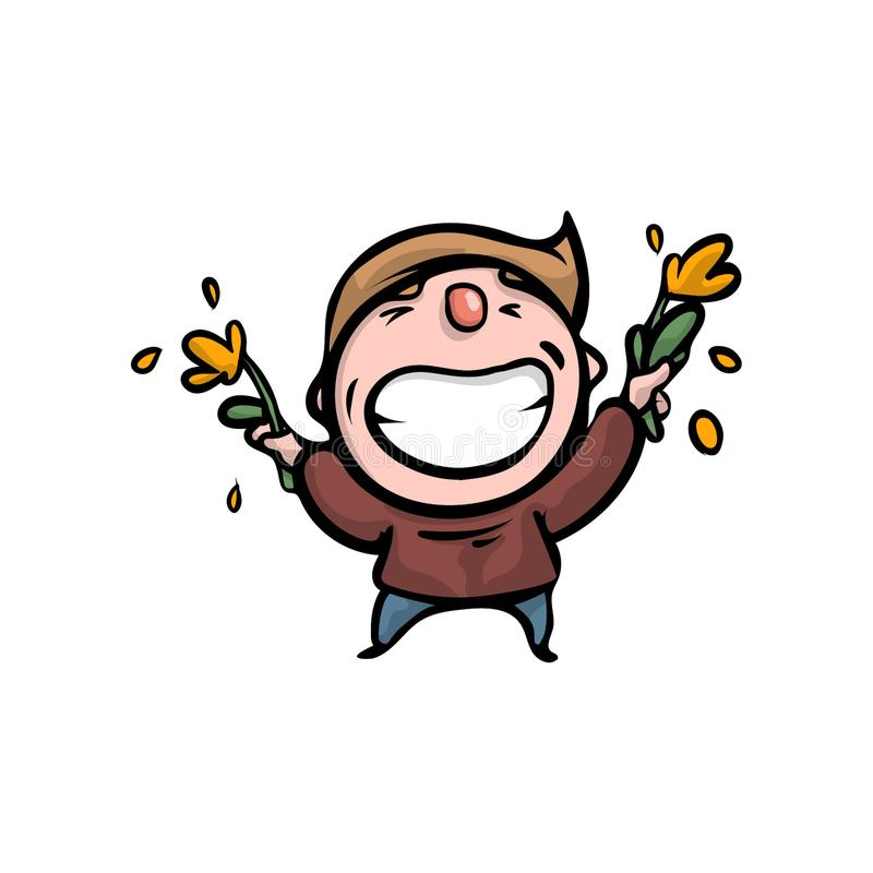 Menino novo de sorriso feliz bonito com flores amarelas ilustração stock