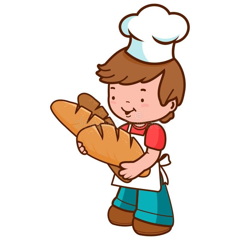 Menino novo do padeiro que guarda nacos de pão ilustração royalty free
