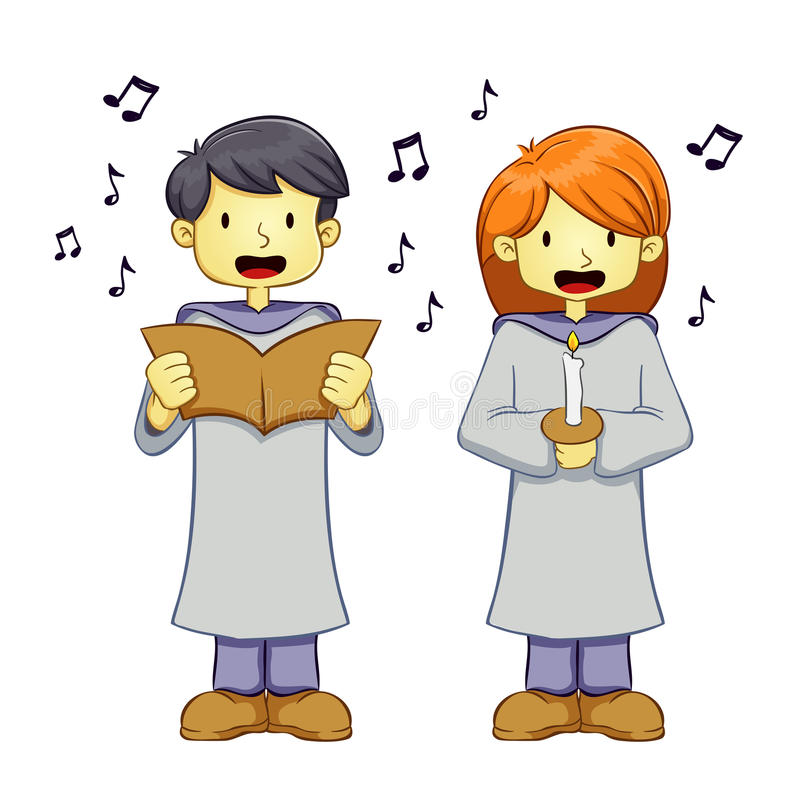 Menino novo e menina que cantam uma música no uniforme do coro ilustração stock