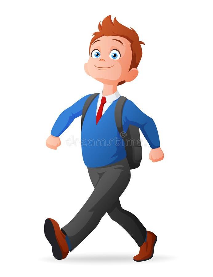 Menino novo pequeno bonito orgulhoso e alegre no uniforme que anda à escola com trouxa ilustração do vetor