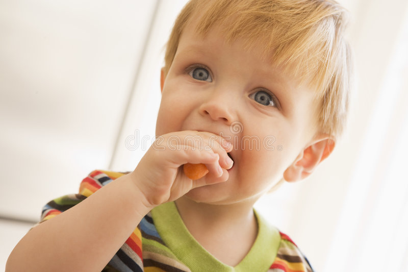 Menino novo que come a cenoura dentro imagens de stock