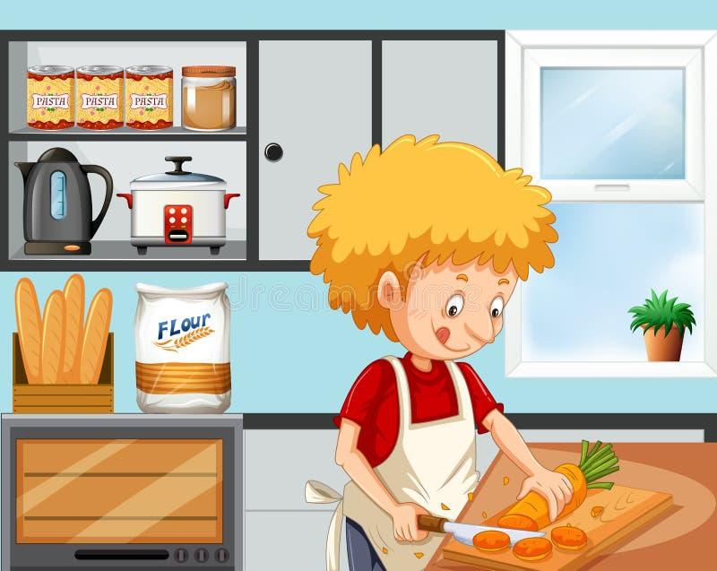 Menino novo que cozinha na cozinha ilustração stock