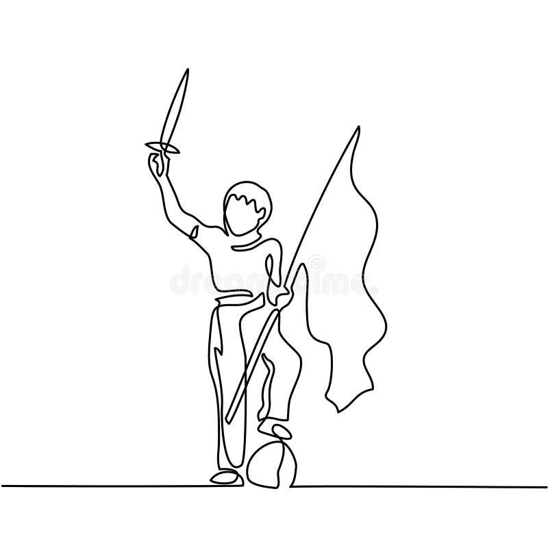 Menino novo que joga com espada e bandeira ilustração stock