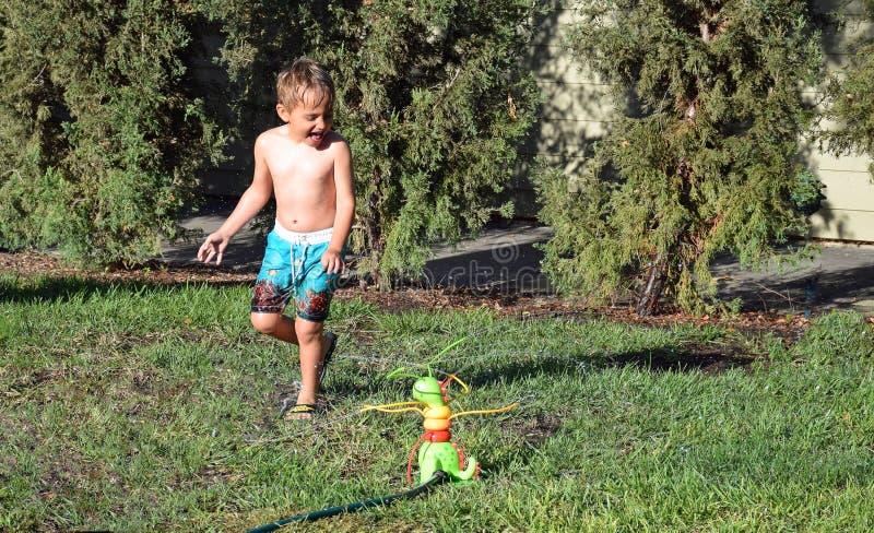 Menino novo que joga em um sistema de extinção de incêndios do gramado foto de stock