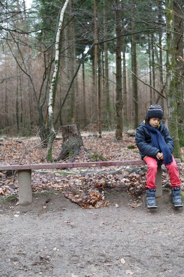 Menino novo que senta-se em um banco de madeira rústico foto de stock