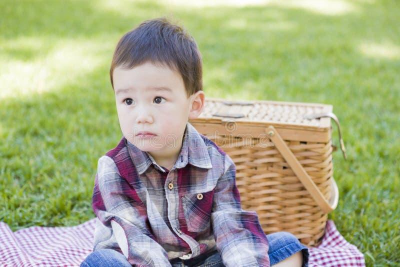 Menino novo triste da raça misturada que senta-se no parque perto da cesta do piquenique imagens de stock