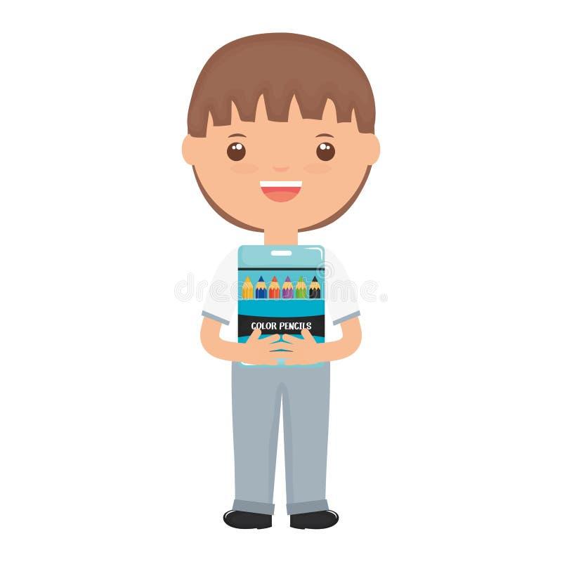 Menino pequeno bonito do estudante com a caixa de lápis das cores ilustração royalty free