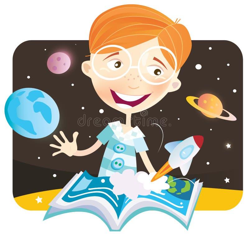 Menino pequeno com livro da história ilustração do vetor
