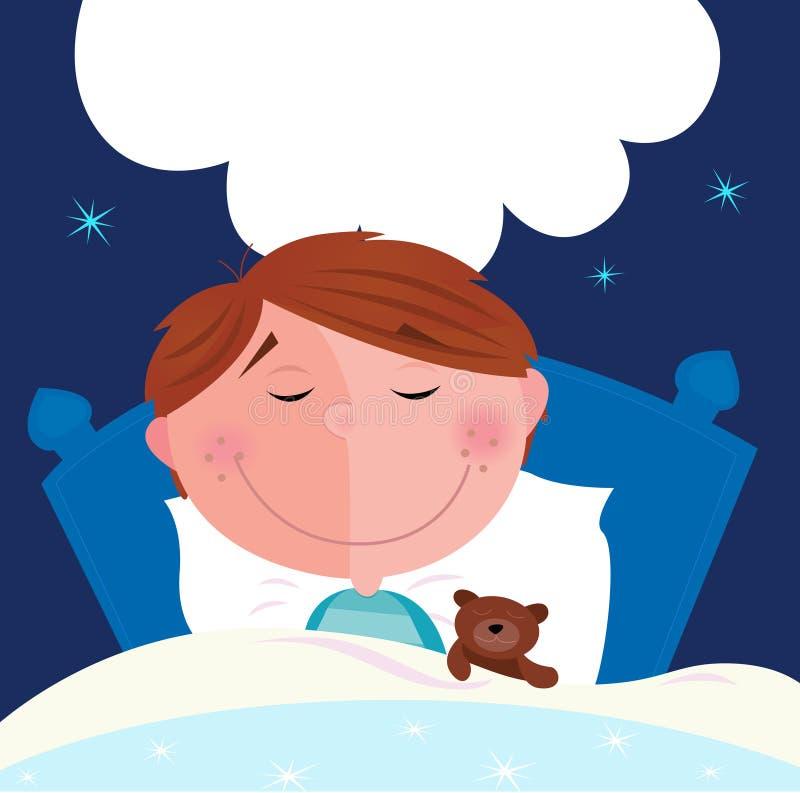 Menino pequeno com seu urso de peluche que dorme na cama ilustração do vetor