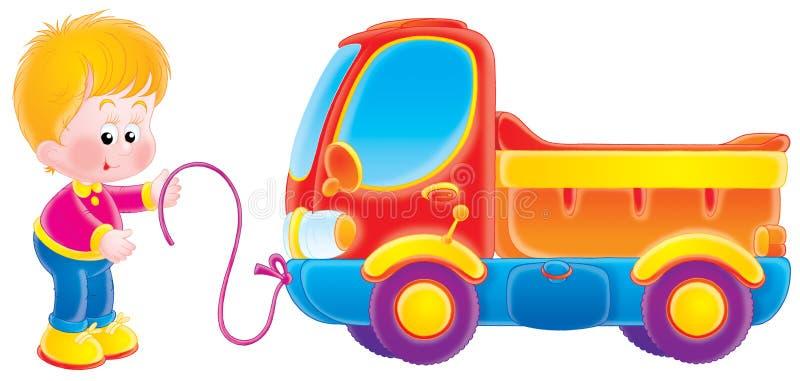 Menino pequeno e seu caminhão do brinquedo ilustração stock