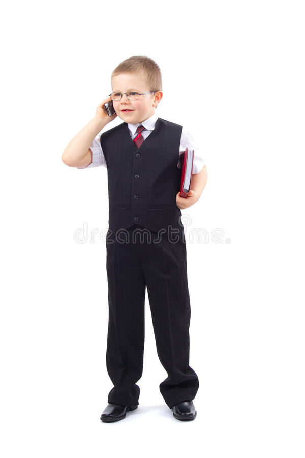 Menino pequeno - homem de negócios imagens de stock royalty free