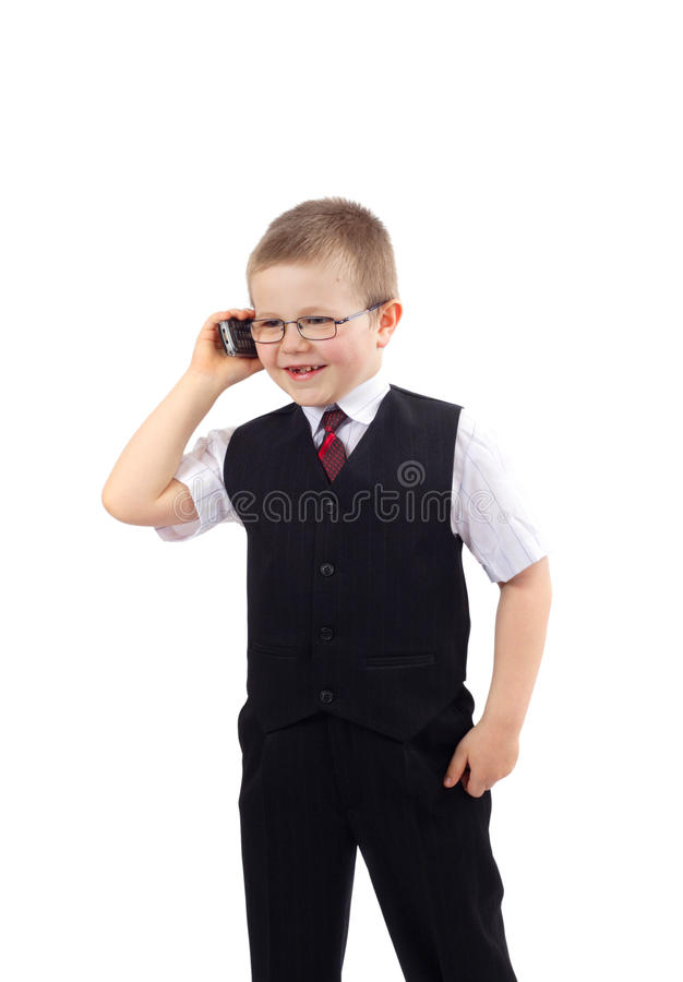 Menino pequeno - homem de negócios fotografia de stock