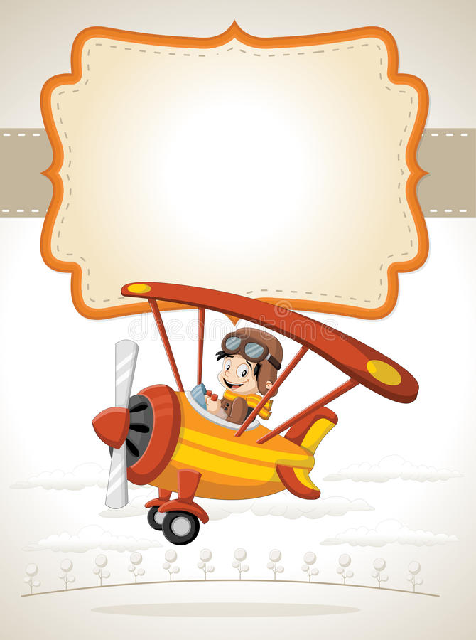 Menino piloto dos desenhos animados em um voo do avião ilustração do vetor