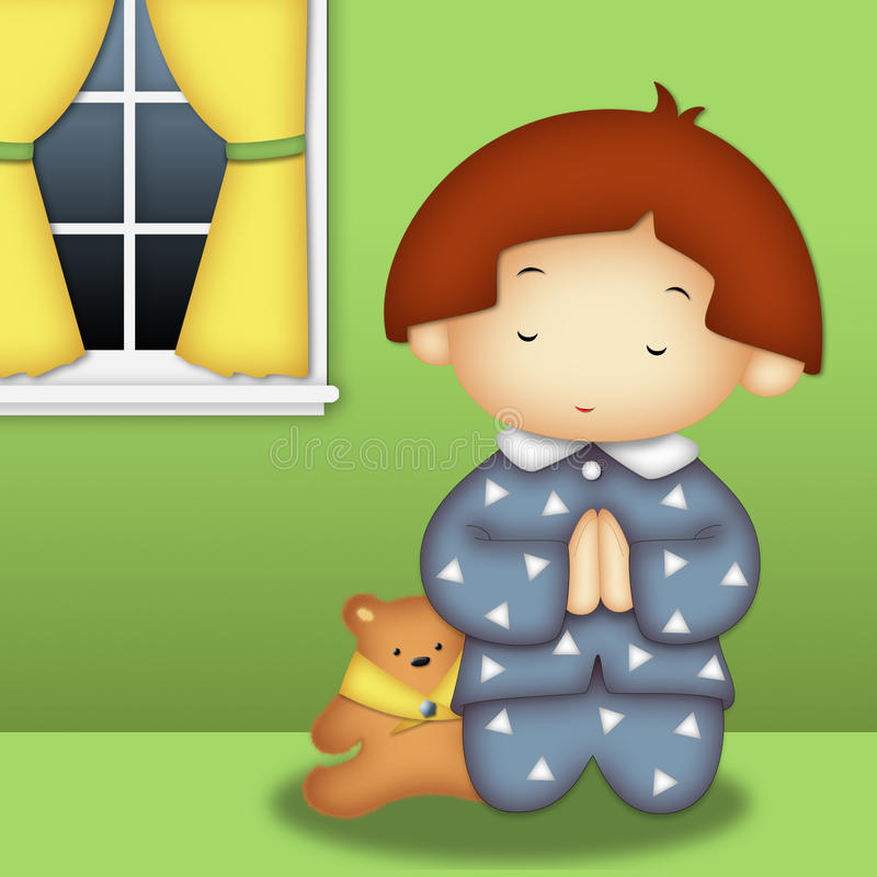 Menino Praying ilustração do vetor