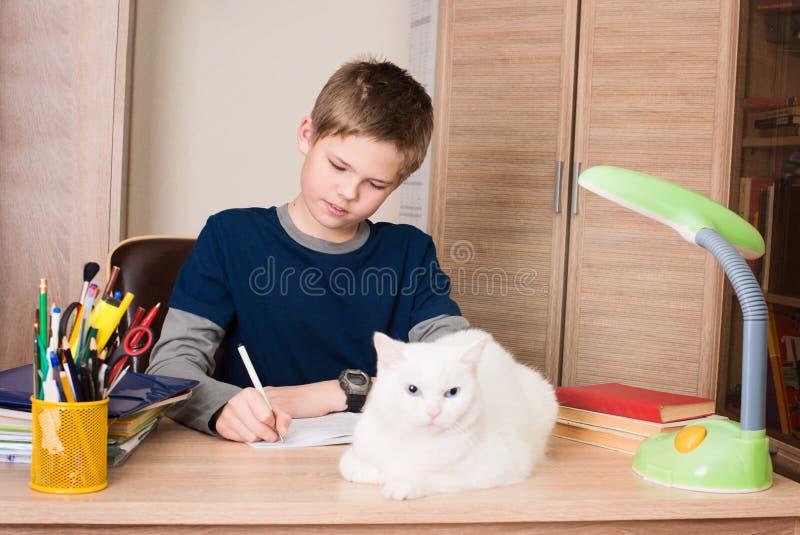 menino Pre-adolescente que faz seus trabalhos de casa em casa em sua sala com c branco fotos de stock