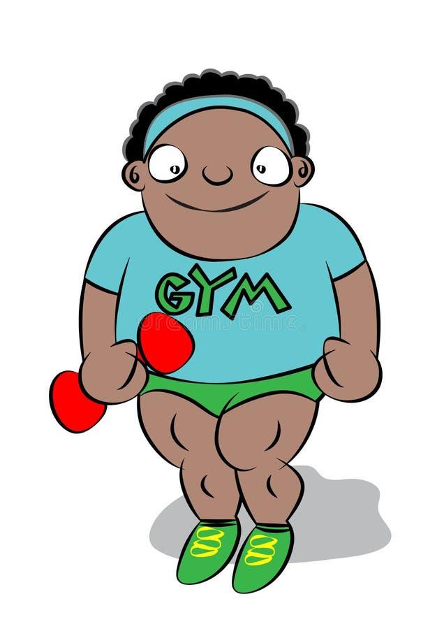 Menino preto carnudo bonito engraçado no gym da escola ilustração royalty free