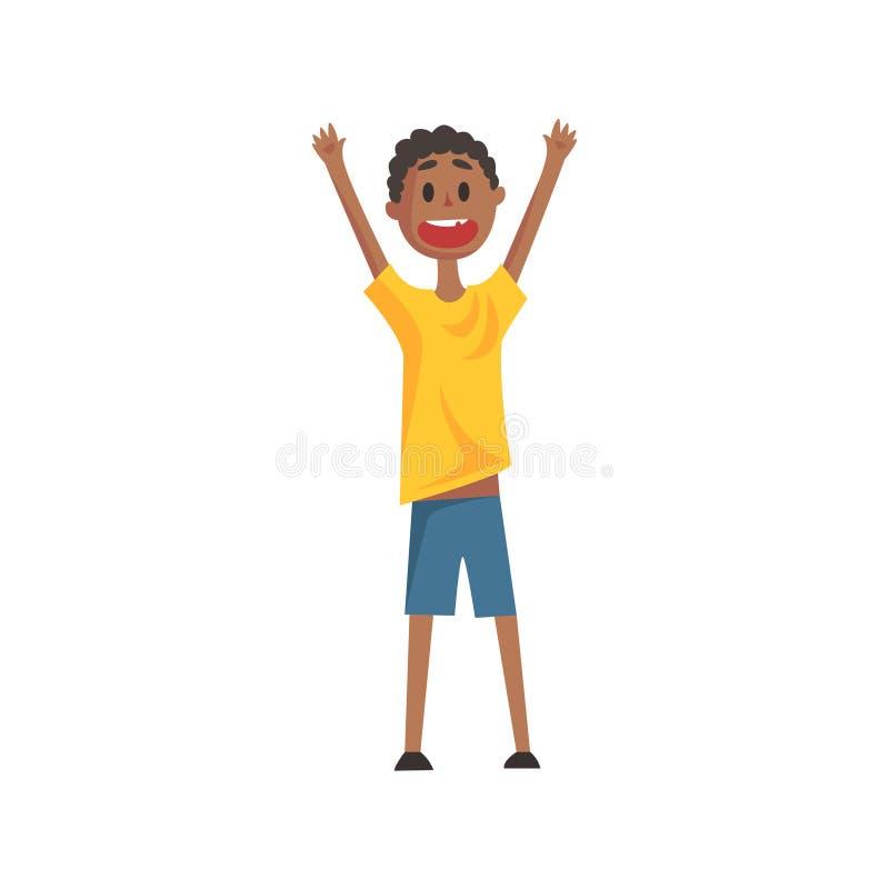 Menino preto de sorriso feliz que grita e que Cheering, parte da série dos membros da família de personagens de banda desenhada ilustração stock