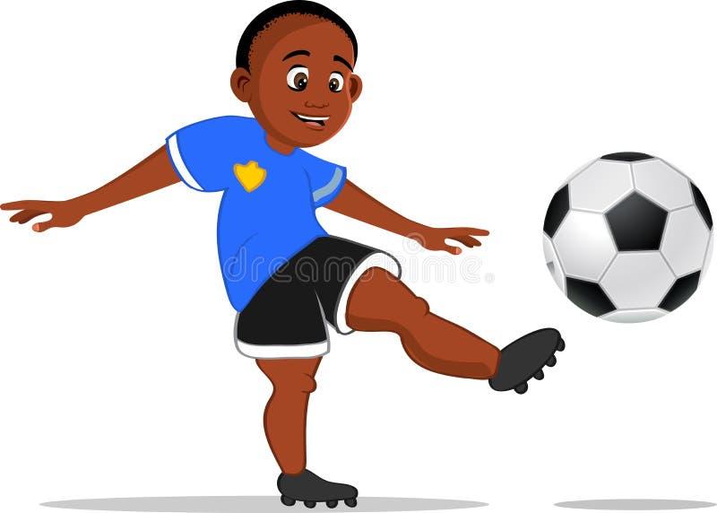 Menino preto que retrocede a bola de futebol ilustração stock