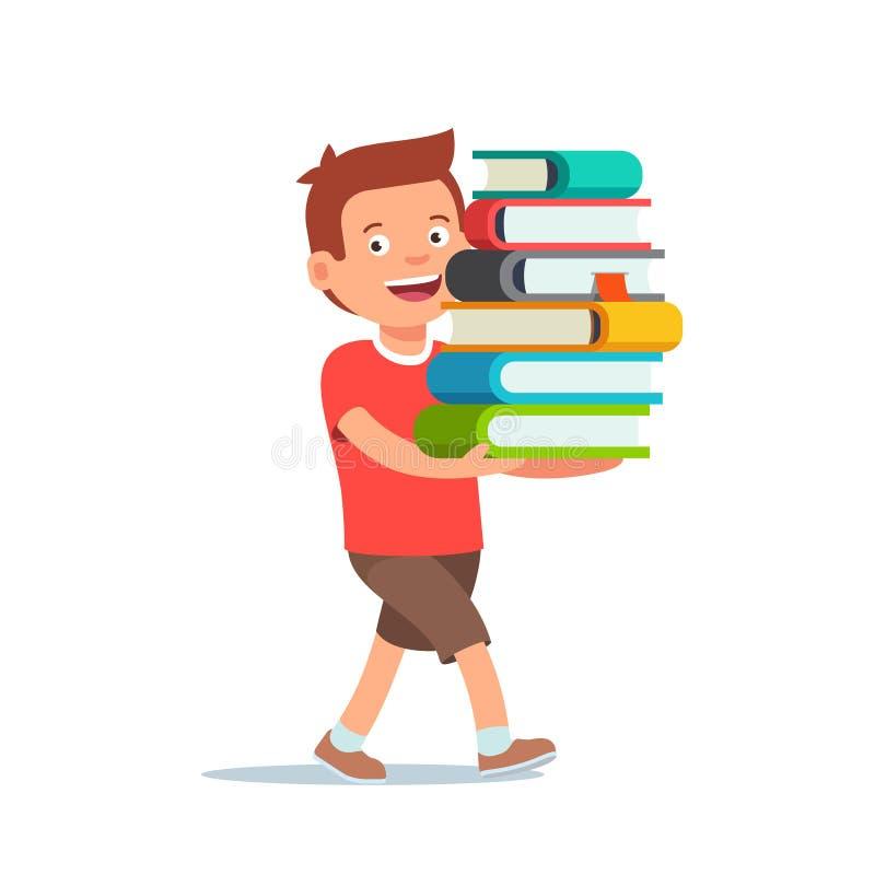 Menino que anda com a pilha grande dos livros em suas mãos ilustração stock