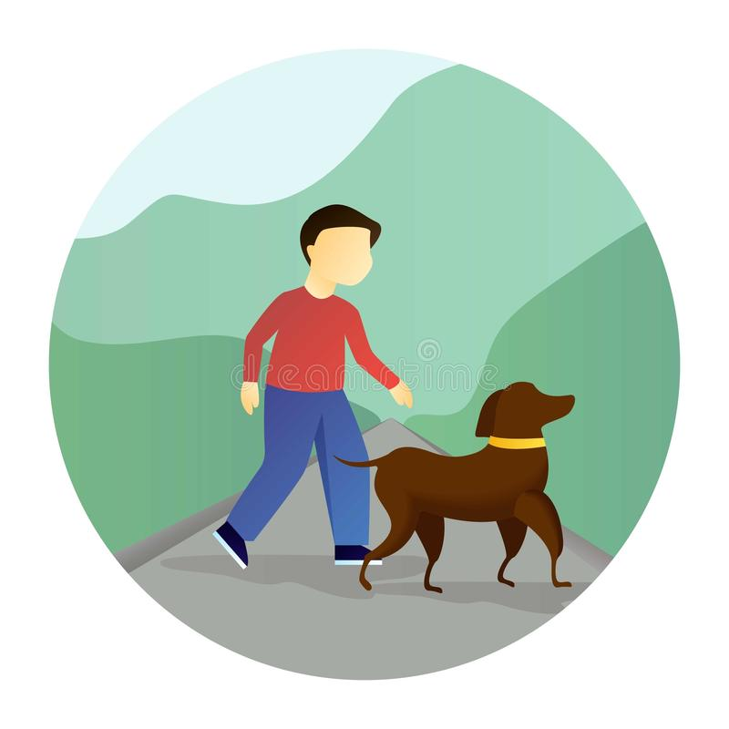 Menino que anda com um cão ilustração do vetor