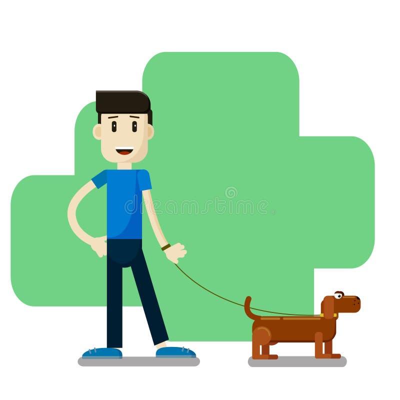 Menino que anda com um cão ilustração royalty free