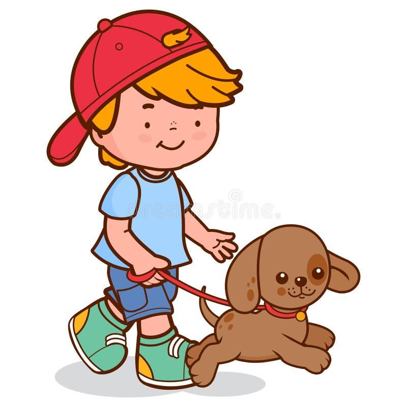 Menino que anda o cão ilustração do vetor