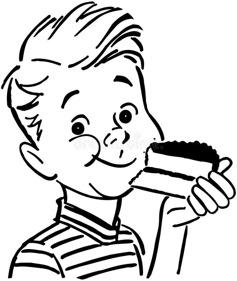 Menino que come o bolo ilustração royalty free